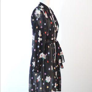 Vintage Tops - Vtg Blk Sheer Floral Dot Tie Waist Cover Top  S/M